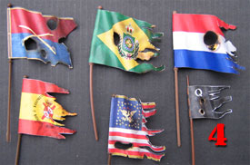 Battle damaged tridimensional Flags