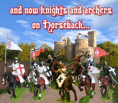 Medieval Knights and archers on horseback