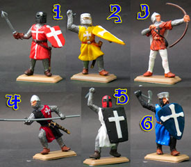 Crusaders knights in coloured tunics set
