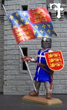Knights in coloured tunics with flag
