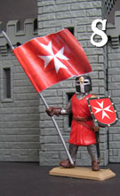 Knight of the Hospital, red tunics, with flag