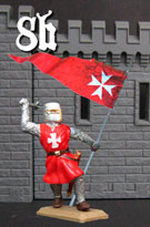 Knight of the Hospital, red tunics, with banner