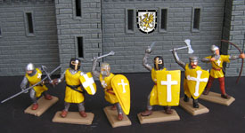 Crusaders knights in yellow tunics set